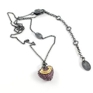 Juicy Couture Jewelry - Juicy Couture Necklace Pink Pave Banner Heart